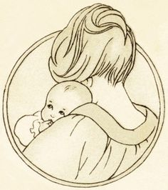 Mother holding baby drawing